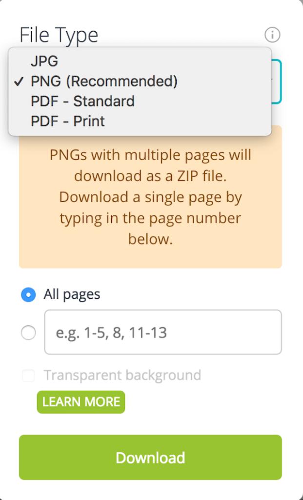 PNG seçeneği