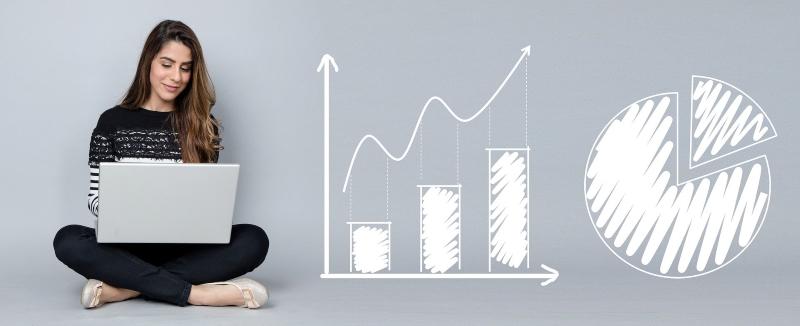 dijital pazarlama trendleri girişimci kadın infografik veri görseli