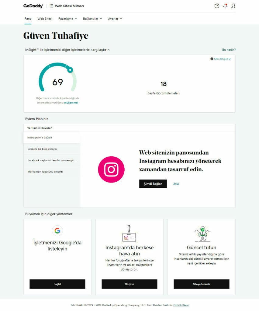 GoDaddy Web Siteleri Pazarlama Araçları müşterisi güven tuhafiye GoDaddy insight ekranı
