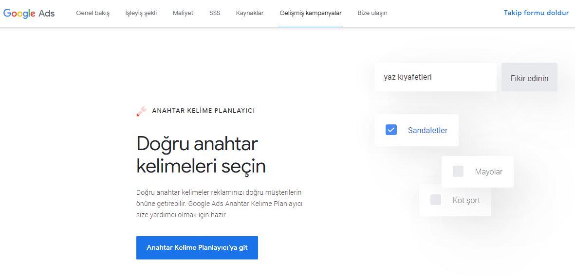 Google anahtar kelime planlayıcı başlangıç sayfası