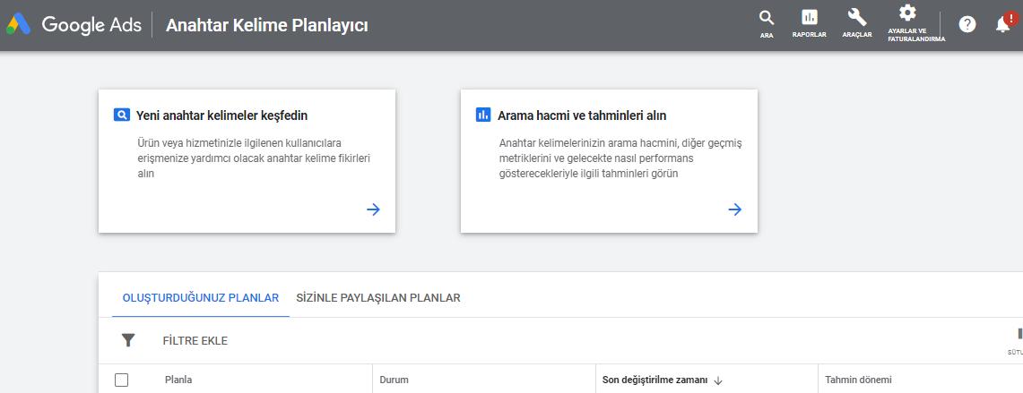 Google anahtar kelime planlayıcı seçenekleri