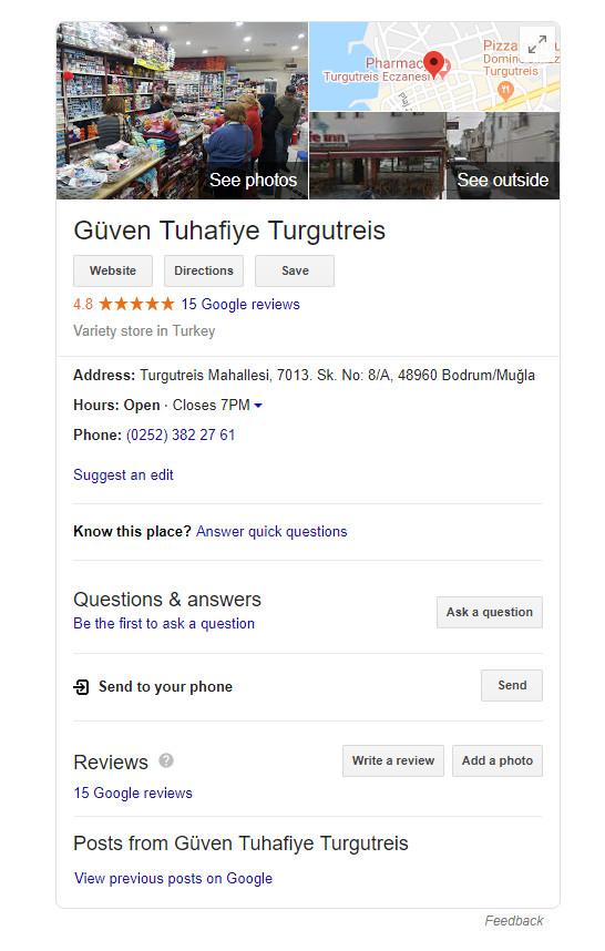 Google benim işletmem güven tuhafiye işletme kaydı