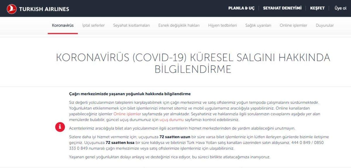 müşteri iletişimi türk hava yolları koronavirüs sayfası
