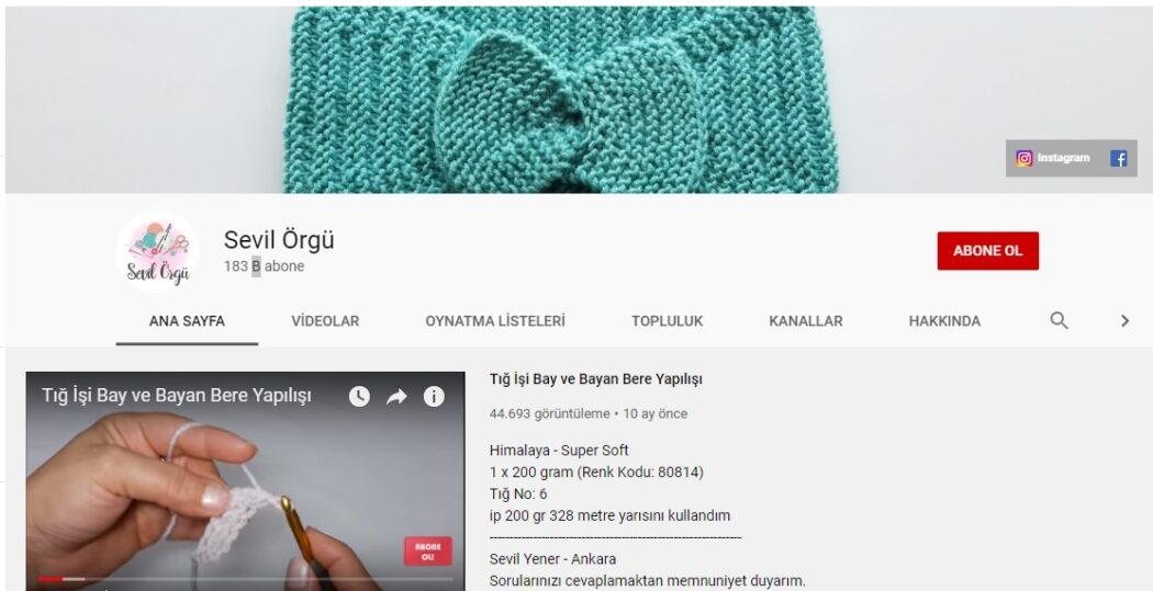örgü siteleri sevil örgü youtube kanalı