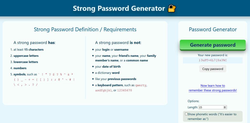 siber güvenlik strong password generator