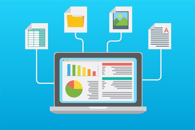 verimlilik infografik şablon dizüstü bilgisayar