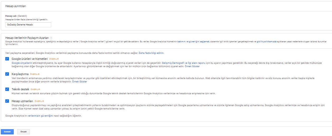 wordpress google analytics hesap ayarları