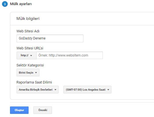 wordpress google analytics mülk ayarları