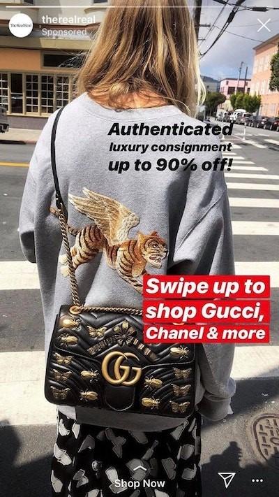 Instagram sponsorlu reklam the real real