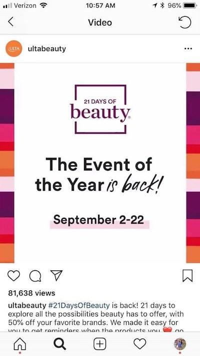 Instagram sponsorlu reklam ulta beauty