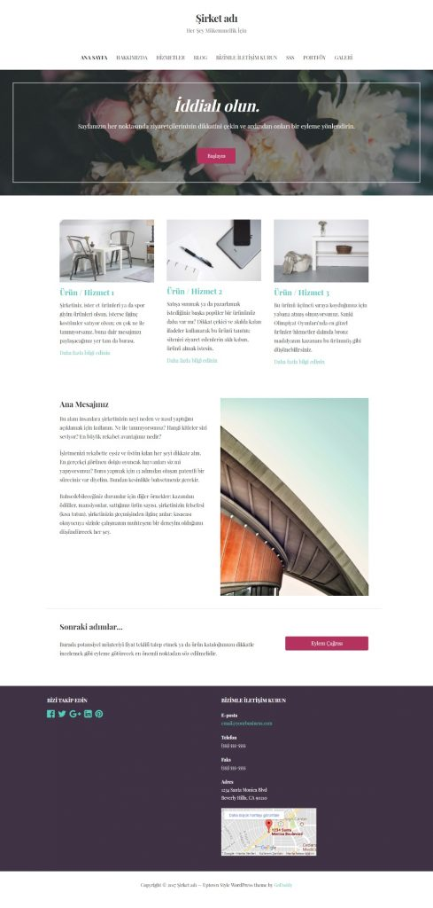 WordPress Web Siteleri Örnek Web Sitesi