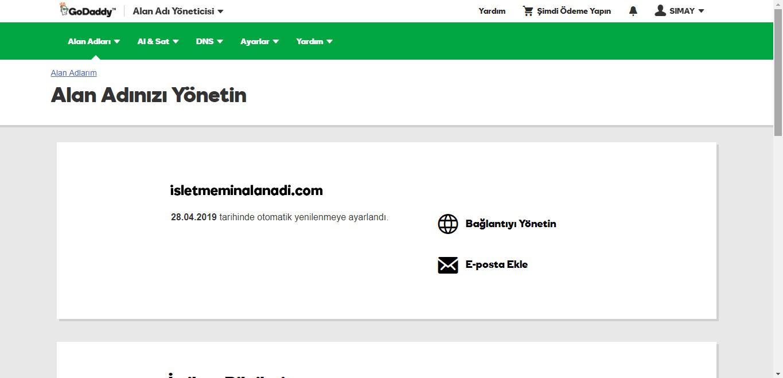 domain yönlendirme godaddy hesabı alan adınızı yönetin