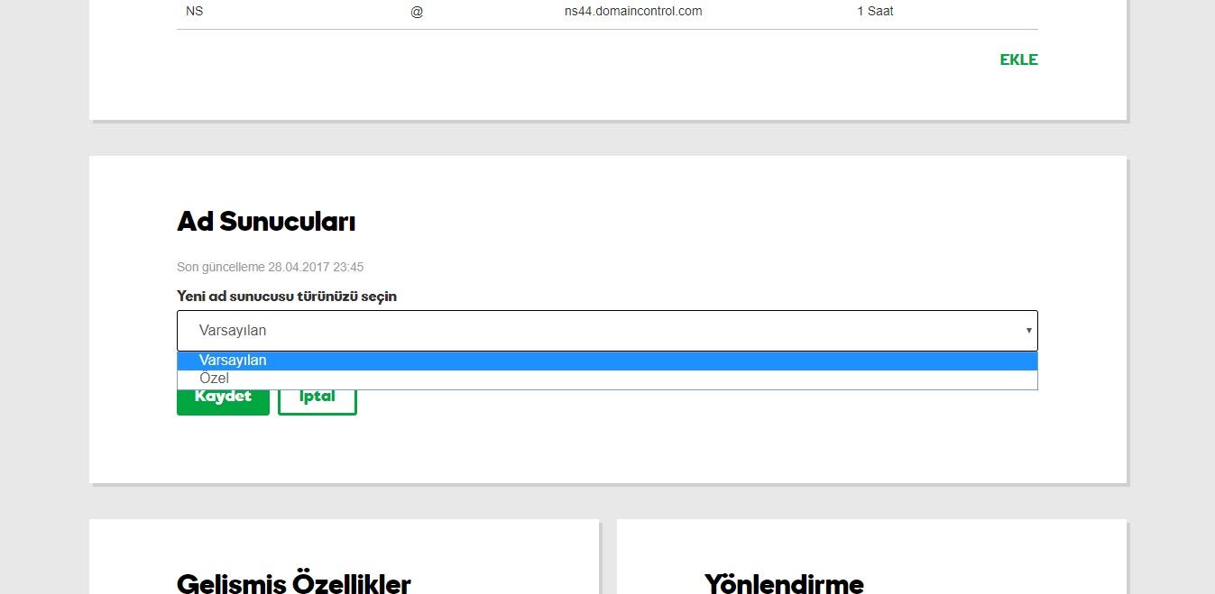 domain yönlendirme godaddy hesabı dns yönetimi ad sunucusu türü