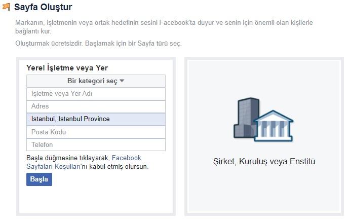 facebook işletme hesabı açma sayfa oluştur
