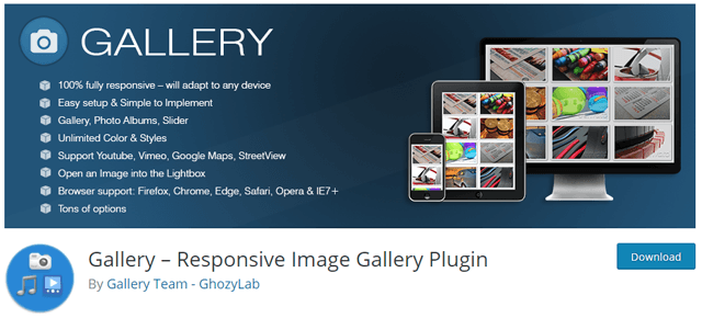 WordPress galeri eklentisi Gallery by Ghozy Lab