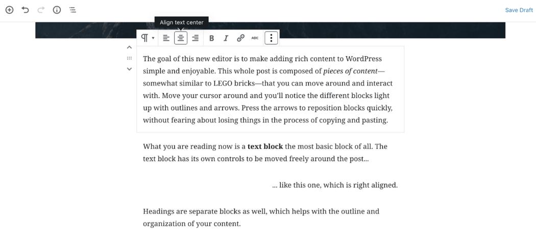 Gutenberg paragraf bloğu seçenekleri