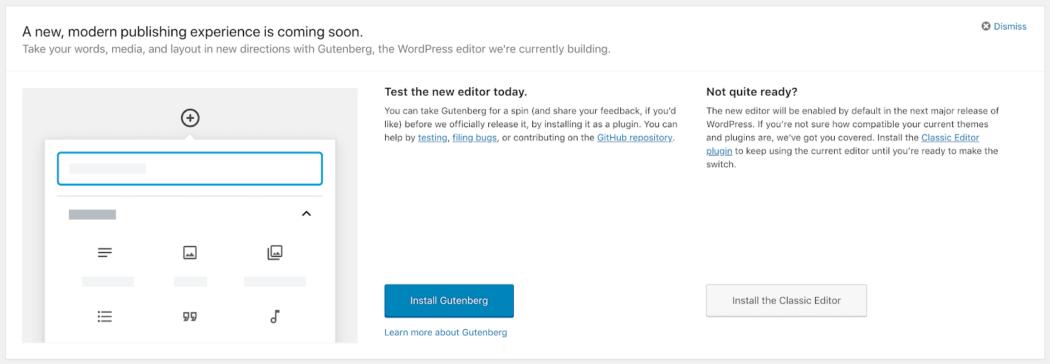 Gutenberg WordPress kontrol paneli eylem çağrısı butonu
