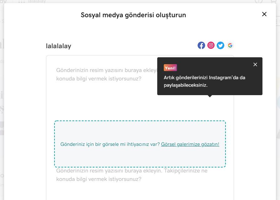 instagram gönderi paylaşma gönderi oluşturma ekranı