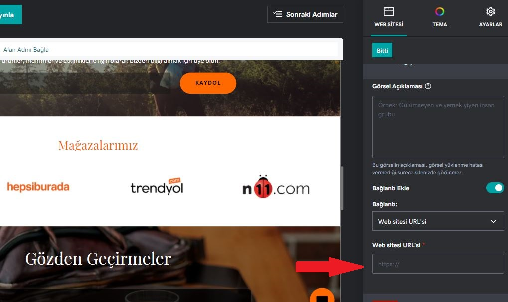 pazaryeri entegrasyonu logoya bağlantı ekleme
