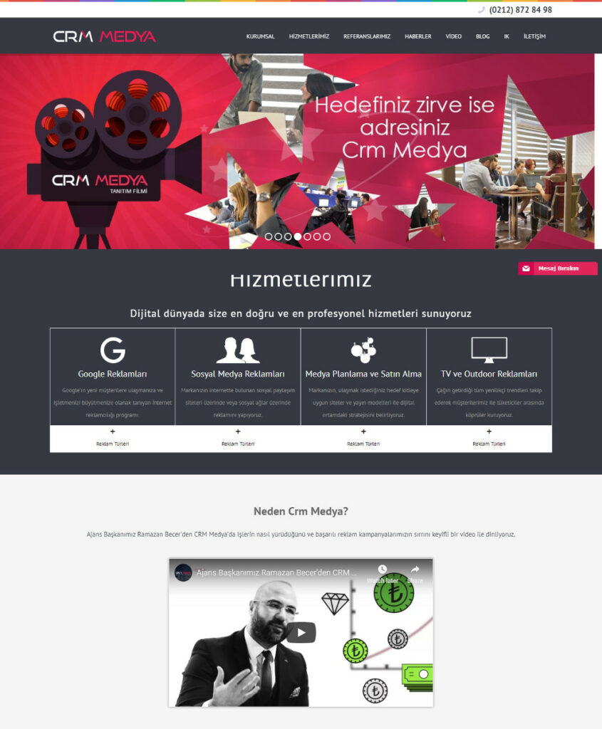 reklamcılık CRM medya web sitesi