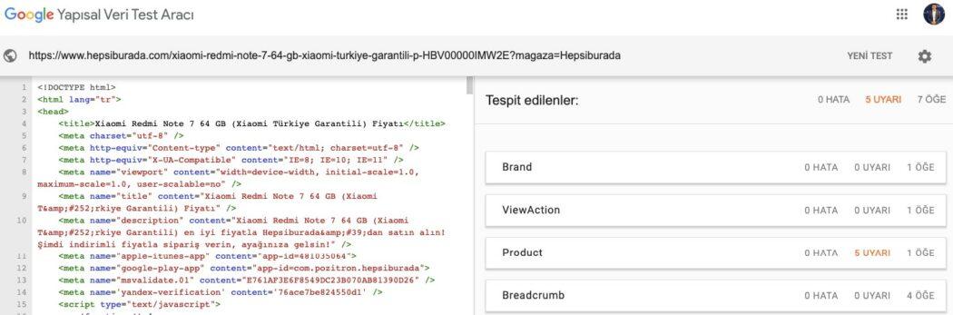 schema Google yapısal veri test aracı