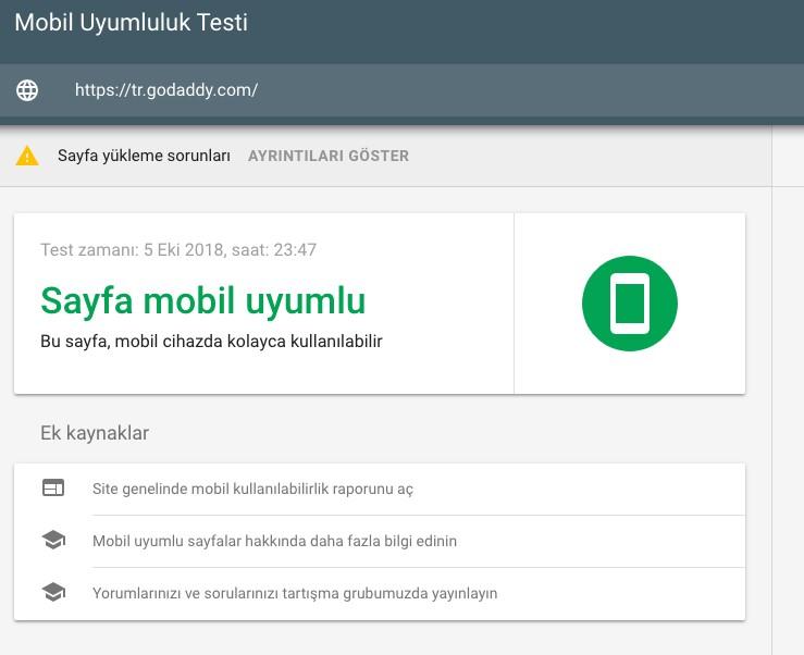 seo nedir Google mobil uyumluluk testi
