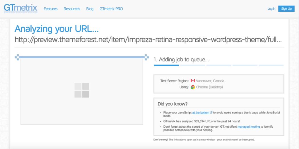 ücretsiz WordPress temaları gtmetrix kodlama testi