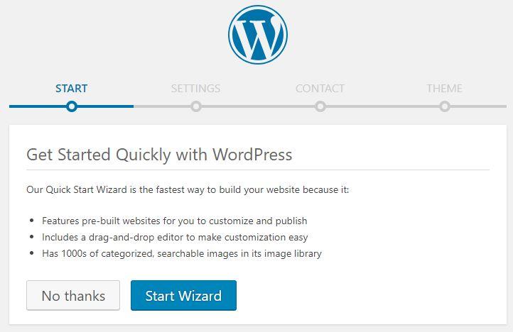 web sitesi nasıl kurulur wordpress hızlı başlangıç sihirbazı