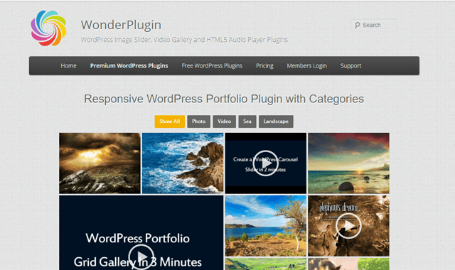 WordPress portfolyo eklentisi Wonder Portfolio Grid