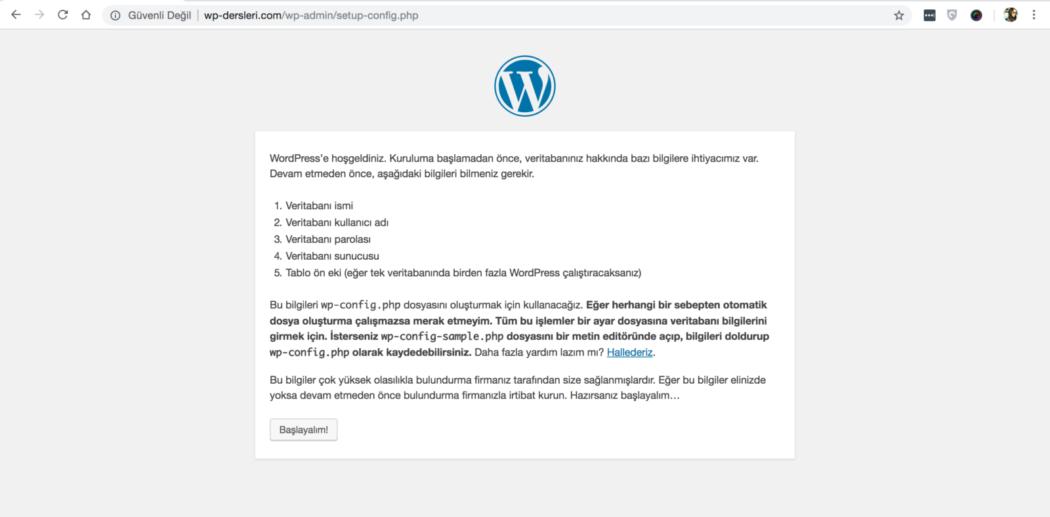 wordpress kurulumu başlangıç ekranı