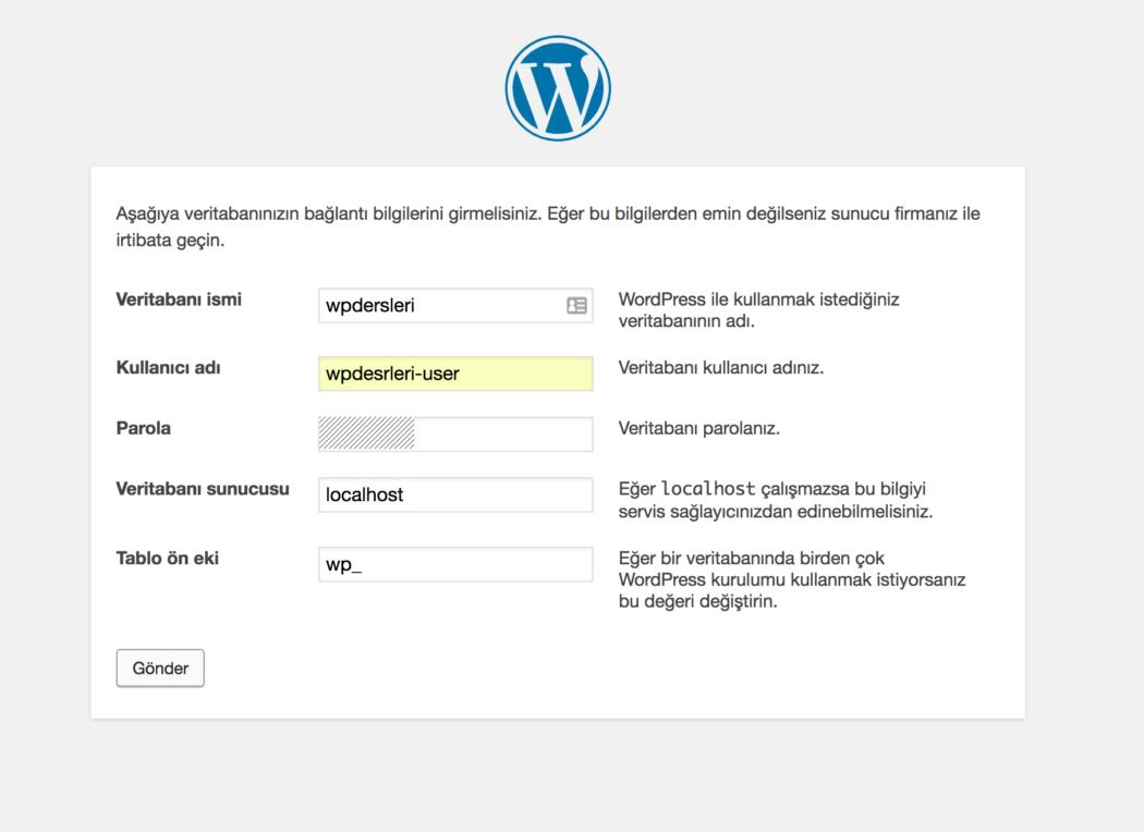wordpress kurulumu veri tabanı bilgilerini girme