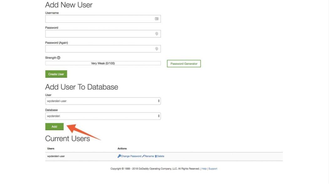 wordpress kurulumu veri tabanı kullanıcı ekleme