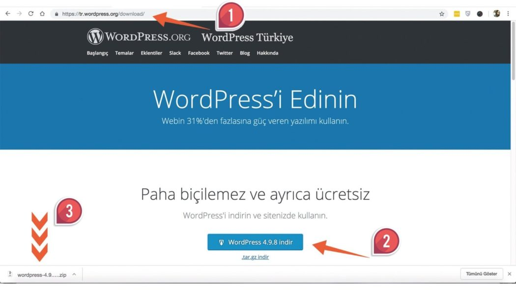wordpress kurulumu wordpress indirme