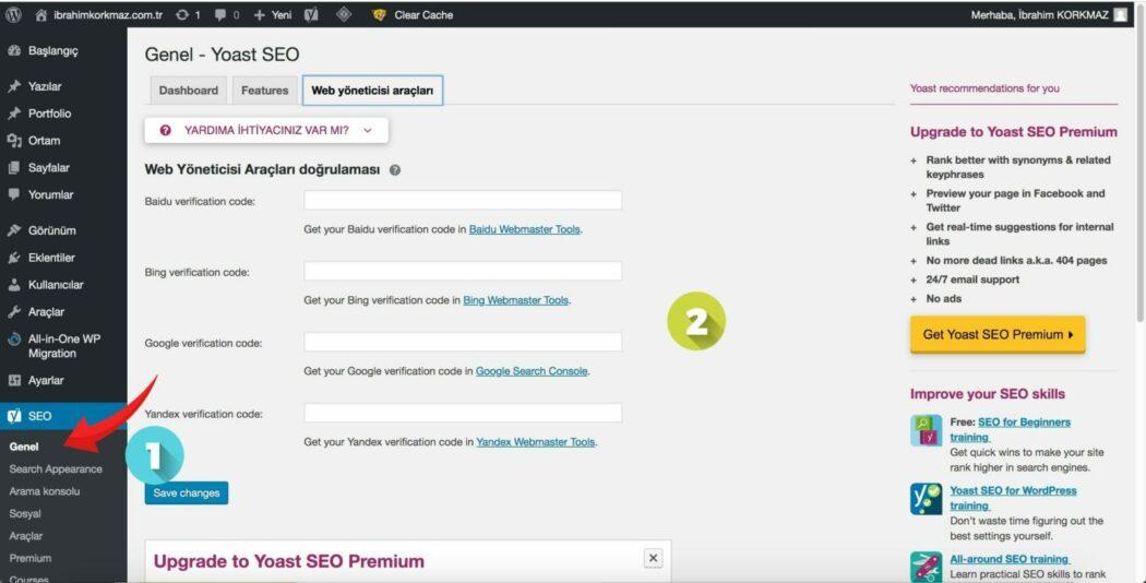 WordPress SEO Yoast SEO web yöneticisi araçları