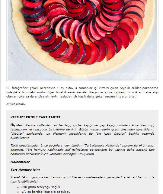 yemek blogları cafe fernando erikli tart tarif kartı